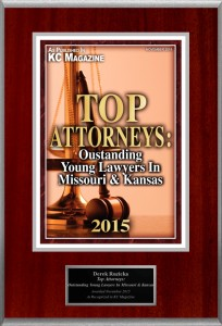 KC Magazine Top Attorneys, Outstanding Young Lawyers in Missouri and Kansas, Derek Ruzicka