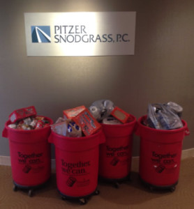 Pitzer Snodgrass, P.C. Employees Collect Food for St. Louis Area Foodbanks