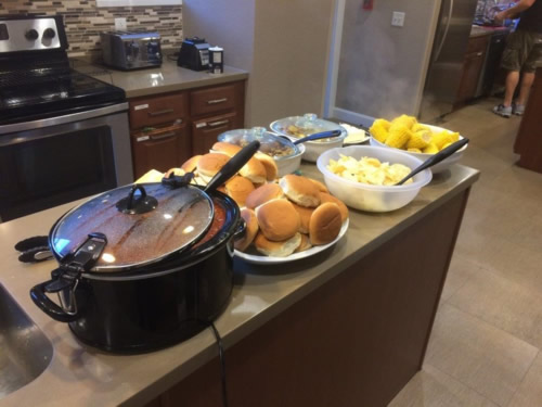 Food prepared by Pitzer Snodgrass employees for families at the Ronald McDonald House
