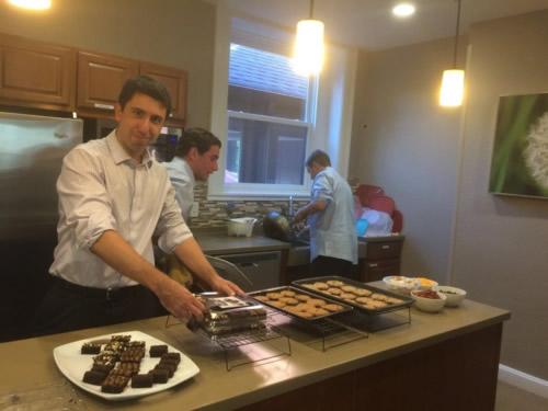 Pitzer Snodgrass preparing food at the Ronald McDonald House